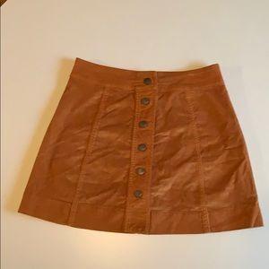 Madewell Gold/mustard Velvet Miniskirt